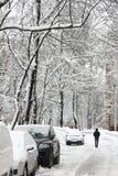 降雪在城市。 免版税库存照片