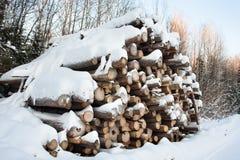 用雪盖的堆日志 免版税库存图片