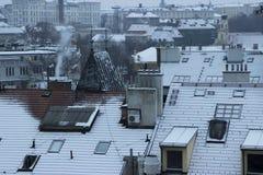 用雪盖的布拉格屋顶 免版税库存图片