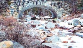 用雪盖的河在红杉国家公园 库存照片