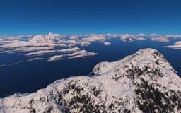 用雪盖的海岛 库存照片