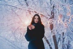 用雪盖的美丽的愉快的笑的少妇佩带的冬天帽子手套剥落 库存照片