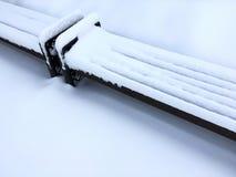 用雪盖的长木凳 都市的横向 库存图片