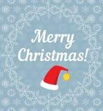 用雪花报道的圣诞快乐信件 免版税库存图片