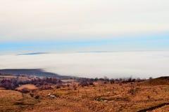 用雾盖的城市 免版税库存照片