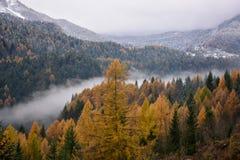 用雾盖的河的谷似乎划分秋天上色在用雪包括的现在白色冬天之前 库存照片