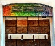 用颜色装饰的门 库存图片