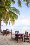 用餐在海滩 免版税库存照片