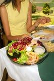 用餐女性模型好挑剔 库存照片