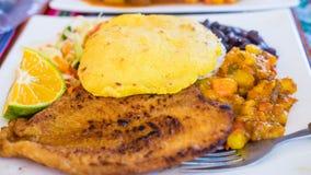 用餐旅游业的哥斯达黎加食物Casado典型的膳食文化西班牙食物鲜鱼米和豆旅行海滩边餐馆 免版税库存图片
