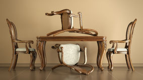 用餐椅子和表的再生产古董 免版税库存图片