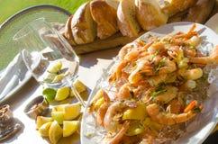 用餐用新鲜的虾的Al壁画 库存图片