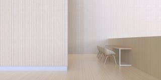 用餐酒吧显示最小和墙壁木纹理-现代的豪华 免版税库存图片