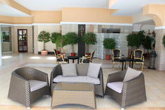 用餐餐馆的旅馆 免版税图库摄影