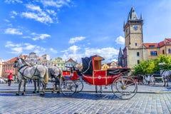用马拉的支架在老镇中心在布拉格,捷克Republi 库存图片