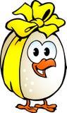 用黄色丝带装饰的鸡鸡蛋 库存照片