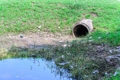 用水泥涂废水的排水口从工厂 库存照片