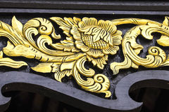 用水泥涂金条纹,花卉,设计,古老,寺庙,清迈,泰国国家 库存图片