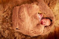 用绵羊报道的新出生的婴孩睡眠下跌 免版税库存图片