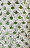 用绿色镜子瓦片装饰的龙皮肤 免版税图库摄影