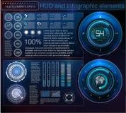 用hud的不同的元素的抽象背景 Hud元素 也corel凹道例证向量 信息图表的平视显示的显示元件 免版税库存照片