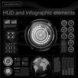 用hud的不同的元素的抽象背景 Hud元素,图表 也corel凹道例证向量 Infogr的平视显示的显示元件 图库摄影
