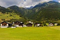 田园诗夏天风景在有新绿色的阿尔卑斯 库存照片