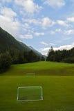 田园诗夏天风景在有新绿色的阿尔卑斯 免版税库存图片