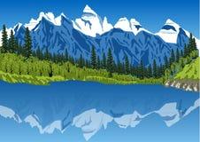 田园诗夏天风景在有清楚的山湖的阿尔卑斯 皇族释放例证