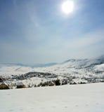 田园诗多雪的冬天风景垂直的全景在山的 库存图片