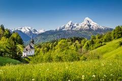 田园诗山风景在巴法力亚阿尔卑斯, Berchtesgadener土地,德国 免版税图库摄影