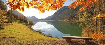 田园诗秋季风景湖sylvenstein,德国 库存图片