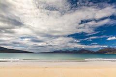田园诗苏格兰海滩 Luskentyre海滩,西部小岛, Scotlan 免版税库存照片