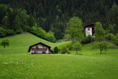 田园诗风景在阿尔卑斯与传统山瑞士山中的牧人小屋和新鲜的绿色山的春天吃草与花 库存照片