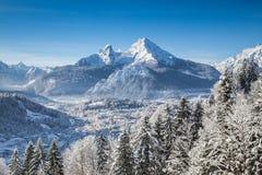 田园诗风景在巴法力亚阿尔卑斯,贝希特斯加登,德国 免版税库存照片