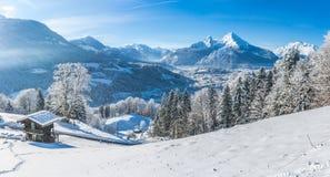 田园诗风景在巴法力亚阿尔卑斯,贝希特斯加登,德国 图库摄影