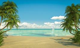 田园诗caribean海滩视图拷贝空间 免版税库存照片