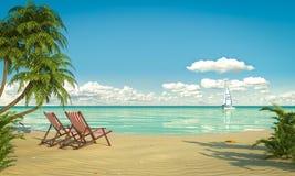田园诗caribean海滩视图 免版税库存照片
