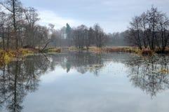 由一个狂放的池塘的晚秋天 免版税库存图片