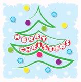 由一条线做的简单的minimalistic传染媒介圣诞树 免版税库存图片