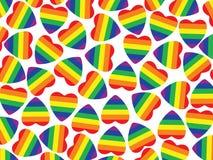 很多与同性恋自豪日旗子的心脏里面在白色。背景。 库存图片