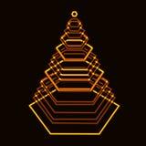由与层数的六角形做的激光金子光亮的技术xmas树 库存图片