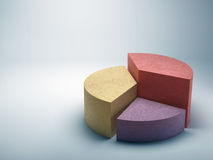 由与拷贝的色的混凝土做的抽象企业圆形统计图表 免版税库存照片