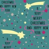 由与桃红色丝带和黄色星的文本做的圣诞树 免版税库存照片