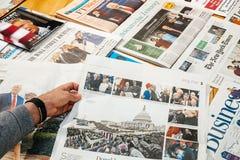 由世界报德国人报纸的世界报唐纳德・川普就职典礼 免版税库存照片