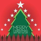 由丝带传染媒介图象做的绿色圣诞树在红色背景 圣诞快乐字法 invitation new year 向量例证