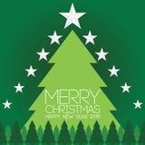 由丝带传染媒介图象做的绿色圣诞树在绿色背景 圣诞快乐字法 invitation new year 库存例证