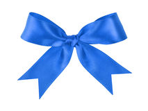 由丝带做的蓝色欢乐被栓的弓 免版税库存图片