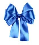 由丝绸丝带做的蓝色弓 免版税图库摄影