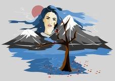 由于高山看起来美丽的女孩,她的移动天空的头发 她看树 库存例证